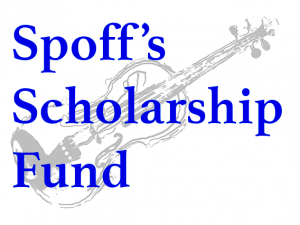 Unofficial logo with the wording Spoff's Scholarship Fund in bold blue text over a greyed-out line drawing of a violin.
